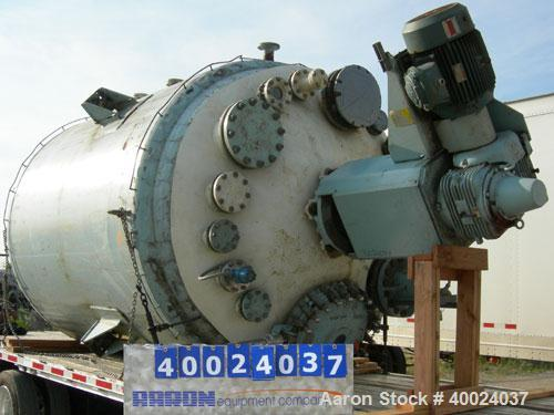"""Used: Pfaudler K series glass lined reactor, 4000 gallon, white glass with calibration lines. Approximately 96"""" diameter x 1..."""