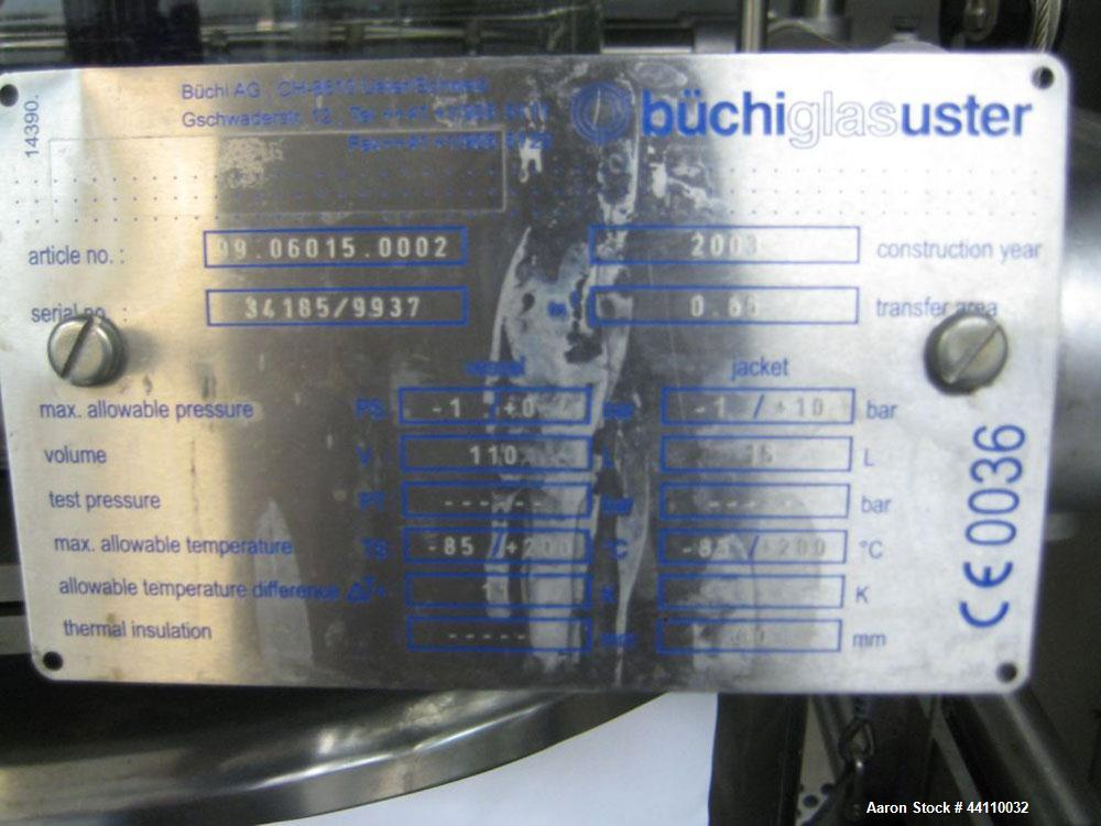 Used- Buchi Glass Reactor, 100 Liter (26.4 Gallon). Internal rated +0.4/-1.0 bar at +200/-85 degrees C, jacket rated +10/-1....