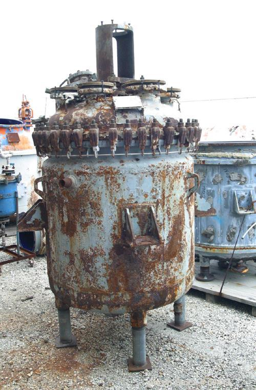 Used- 200 Gallon Glass Lined De Dietrich Clamp Top Reactor