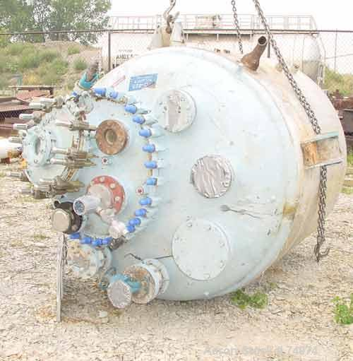 """USED: Dedietrich glass lined reactor, model SA-750, 750 gallon, type 2222N glass, vertical. 61"""" diameter x 55"""" straight side..."""