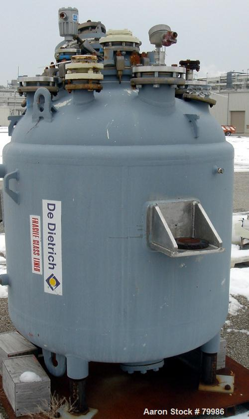 "USED: Dedietrich glass lined reactor, 300 gallon, model SA-300. 48"" diameter x 50"" straight side. Internal rated 100 psi/FV ..."
