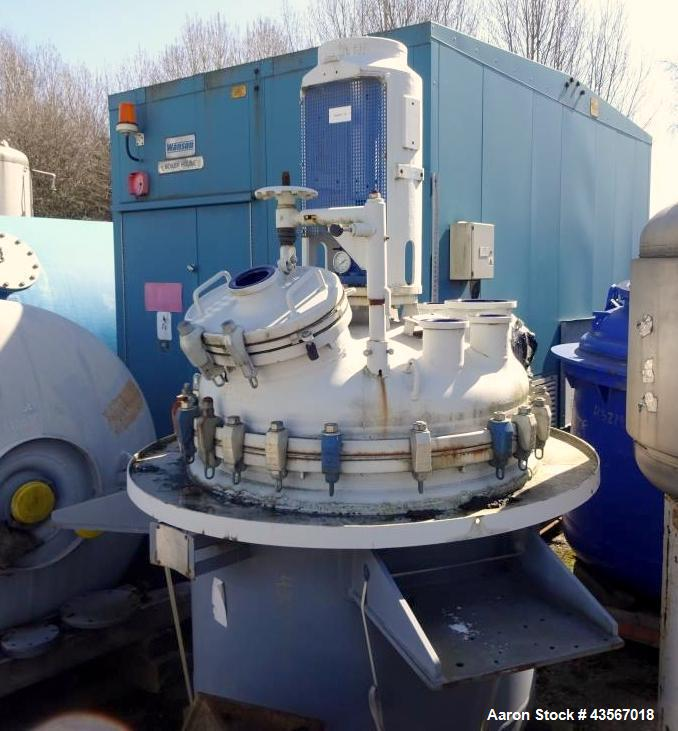 """Used- De Dietrich Glass Lined Reactor, 1180 Liter (311.81 Gallon), 3009 Blue Glass, Vertical. Approximately 48"""" diameter x 4..."""