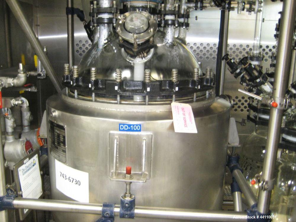 Used- DeDietrich Glass Lined Reactor, 20 Gallon. Internal rated Atmospheric & Full Vacuum at 302 degrees F, jacket rated 145...