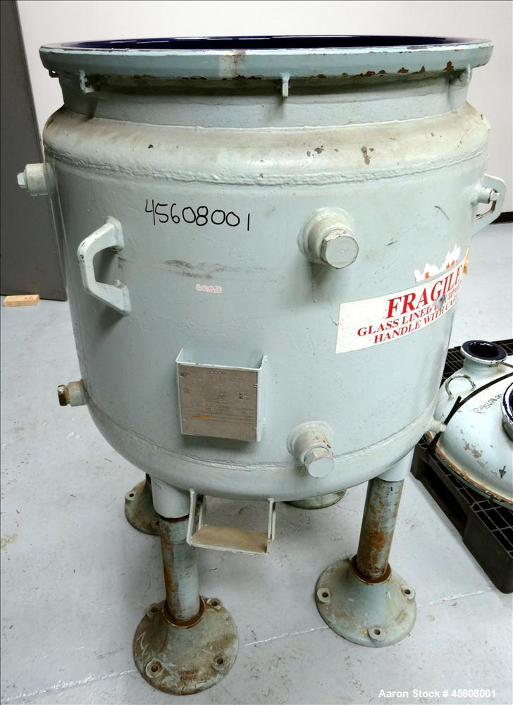 Used- Dedietrich Clamp Top Clamp Glass Lined Reactor, 100 Gallon, 3008 Blue Glas