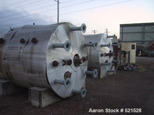 USED: Dedietrich 2000 gallon glass lined reactor. Glass 3008, rated 87 psi/full vacuum @ 384 deg F internal, jacket 87 psi @...