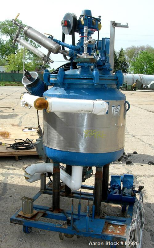 "USED: Dedietrich glass lined reactor, 50 gallon, 3008 glass. 22-3/4"" diameter x 23"" deep, bolt-on dished top, dish bottom. I..."