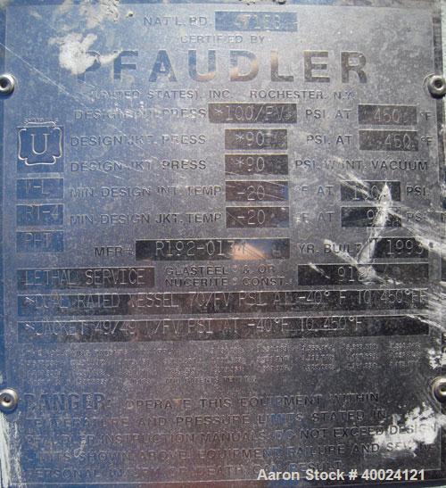 "Used- Pfaudler K Series Glass Lined Reactor, 2500 gallon, 9129 white glass, model KC-84-2500-100-90. 84"" diameter x 94"" stra..."