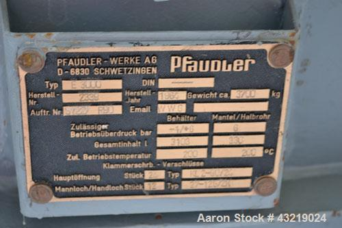 Used- 3000 Liter Glass Lined Pfaudler Type Reactor