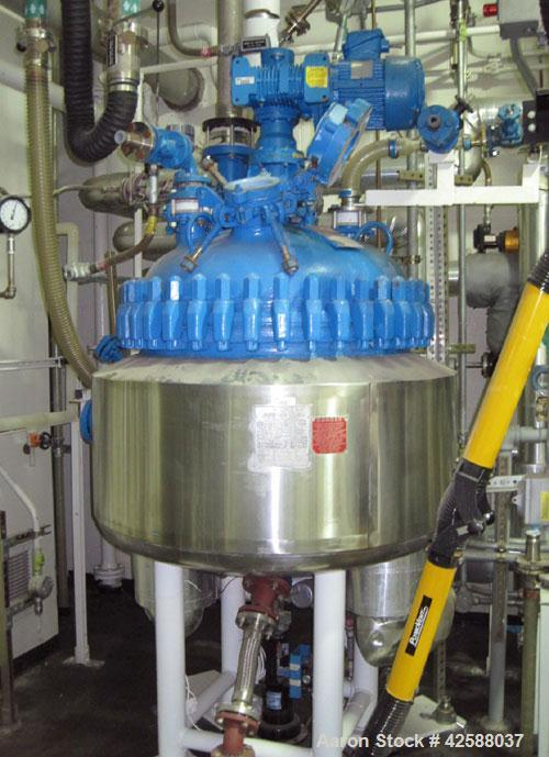 Used- Pfaudler Glass Lined Reactor, 50 gallon, model E32-50-100-150. 32'' Diameter x 12'' straight side. 2:1 Elliptical bolt...