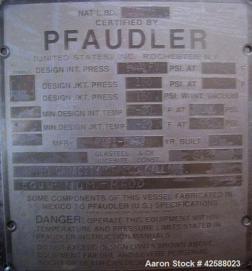 "Used- Pfaudler Glass Lined Reactor, 200 gallon, model E40-200-100-150. 40"" Diameter x 30"" straight side. 2:1 Elliptical bolt..."