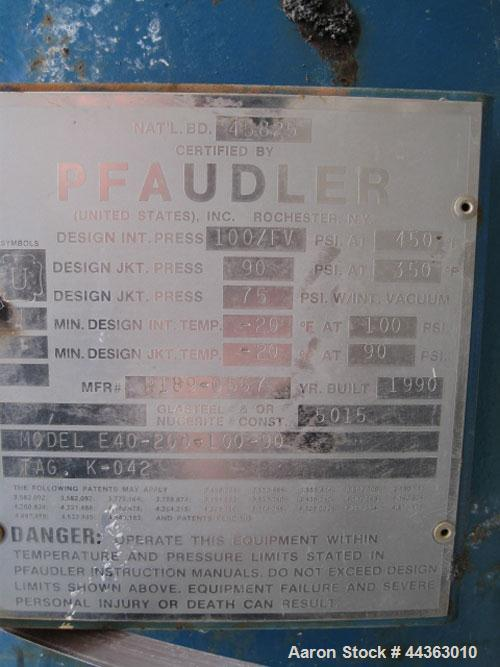 Used- Pfaudler Glass Lined Reactor, 200 gallons, model E40-200-100-90, rated 100 psi and full vacuum at 450 F nternal, jacke...