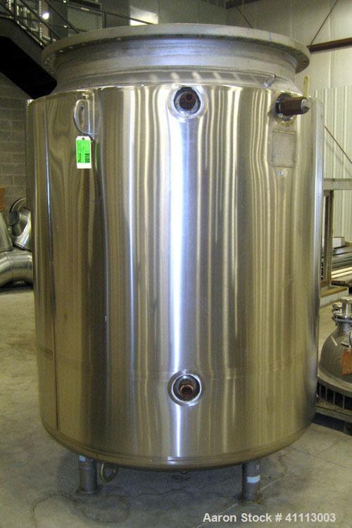 Used- Pfaudler Glass Lined Reactor, 500 gallon, blue glass, vertical. 48'' diameter x 77'' high, , dish bottom. Internal rat...