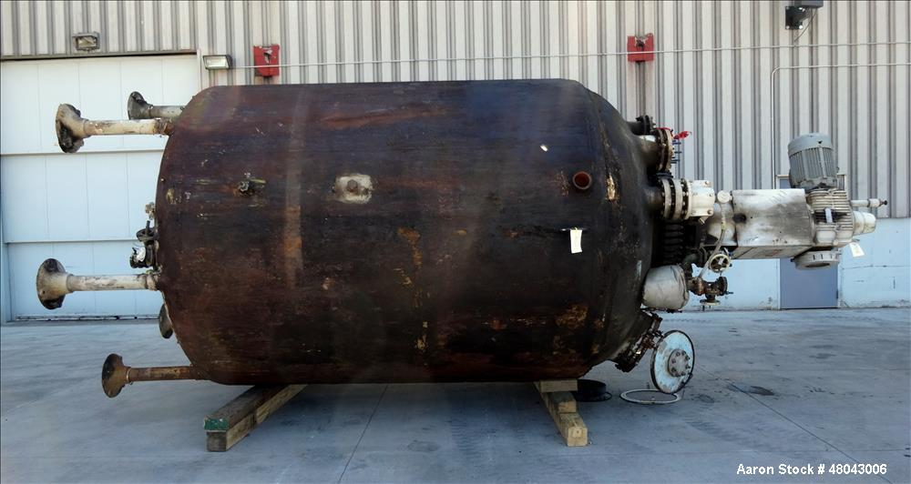 Used- Pfaudler Glass Lined Reactor, 4,000 Gallon, 3315 Blue Glass, Vertical.