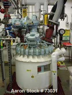 "USED: Pfaudler 50 gallon glass lined reactor. Internal rated 150 psifull vacuum at 450 deg F, jacket rated 135 psi. 24"" diam..."