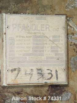 """USED: Pfaudler 1000 gallon glass lined reactor. 60"""" x 72"""" straightside. Internal rating 100 psi/FV @ 450 deg F. Jacket rated..."""