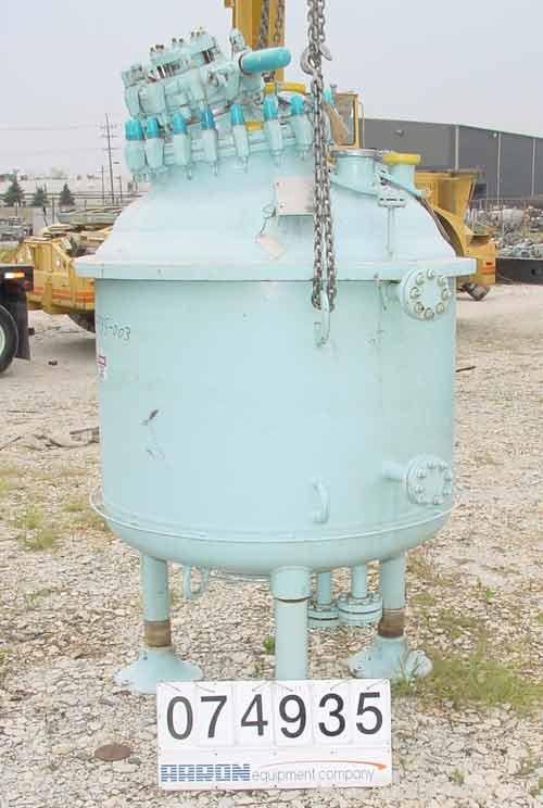 "USED:Pfaudler closed tank glass lined reactor, model RA48-300,300 gallon, vertical. 9129 glass. 48"" diameter x 36"" straight ..."