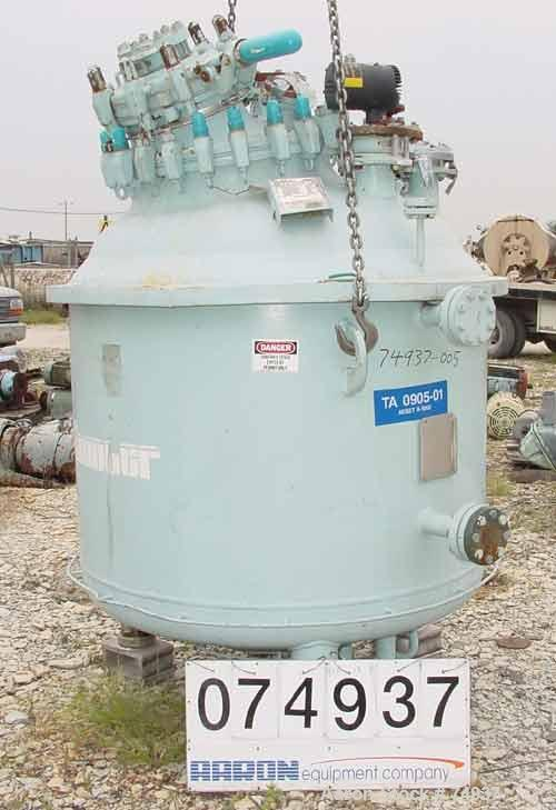 """USED:Pfaudler closed tank glass lined reactor, model RA48-300,300 gallon, vertical. 9115 glass. 48"""" diameter x 36"""" straight ..."""