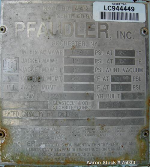 """USED:Pfaudler closed tank glass lined reactor, model RA48-500, 500 gallon, vertical. 9129 white glass. 48"""" diameter x 65"""" st..."""