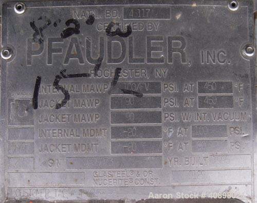 "Used- Pfaudler Glass Lined Reactor, Model RA78-1500-100-90, 1500 Gallon. 9129 glass. 78"" diameter x 87"" straight side. Inter..."