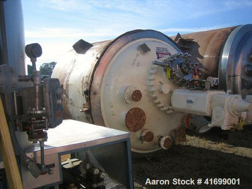 Used- Pfaudler Glass Lined Reactor, 2000 Gallon, Model RA78-2000-100-90, 9119 Blue Glass, Vertical. Internal rated 100 psi/F...
