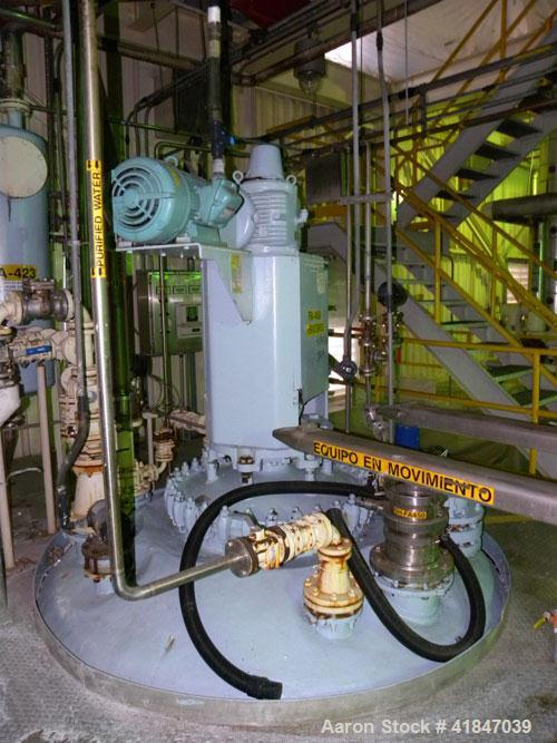 Used- Pfaudler Glass Lined Reactor, 3000 gallon, model RA96-3000-100-90, 9129 white glass with calibration lines, vertical. ...