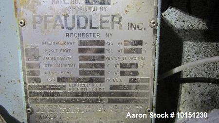 Used- Pfaudler K-series Glass Lined Reactor, Approximately 500 Gallons. White glass, rated 300 PSI / full vacuum at 450 degr...