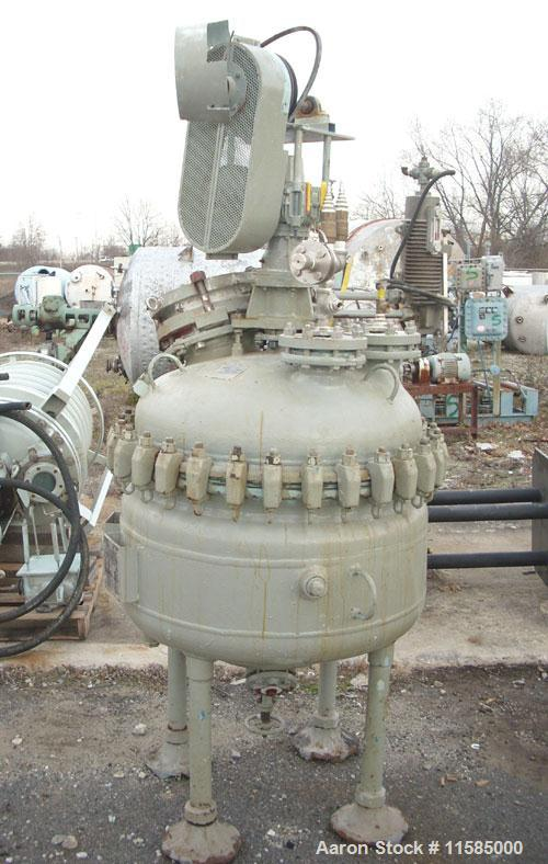 "Unused-Used: 50 gallon Pfaudler glass lined reactor, 32"" diameter, clamped top. Internal rated 100 psi/full vacuum @450 deg ..."