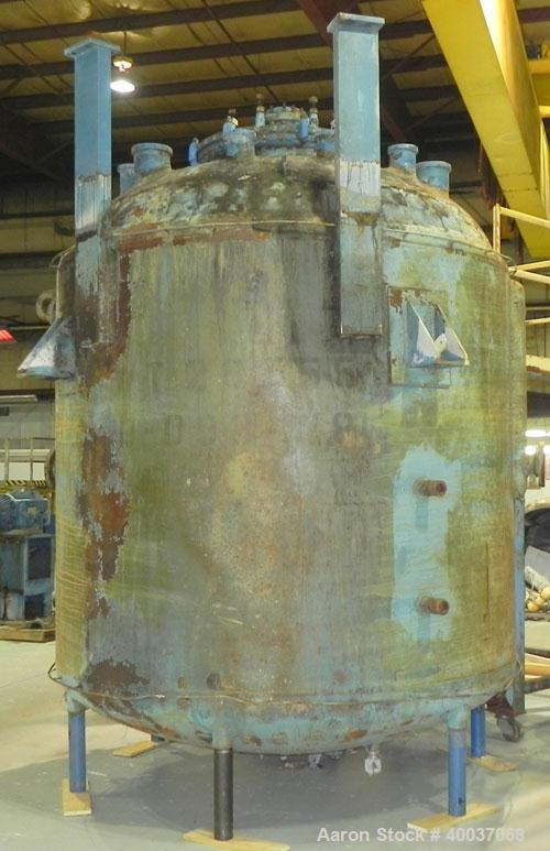 """Used- Pfaudler 3000 Gallon Glass Lined Reactor Body with Covers. Model RA-96. 96"""" Diameter x 77"""" Straight Side. Dished Heads..."""