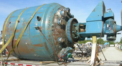 Used- Pfaudler Glass Lined Reactor, 3000 gallon, 3315 blue glass, vertical. Approximately 96'' diameter x 84'' straight side...