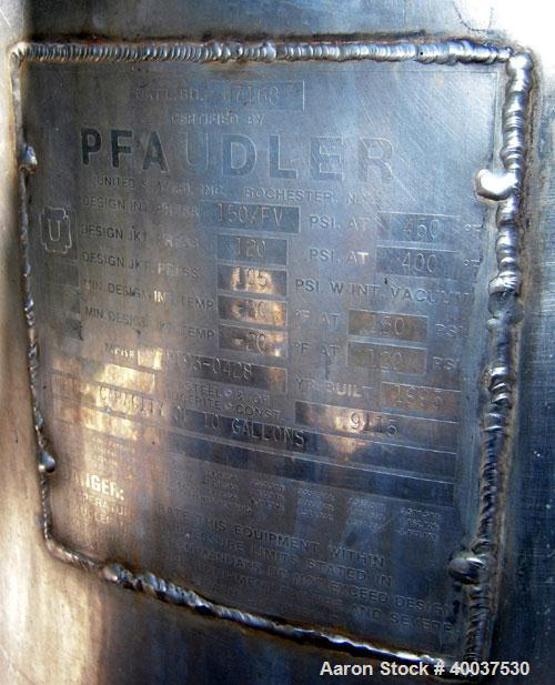 """Used: Pfaudler glass lined clamp top reactor, 10 gallon, 9115 glass, vertical. Approximately 16"""" diameter x 16"""" straight sid..."""