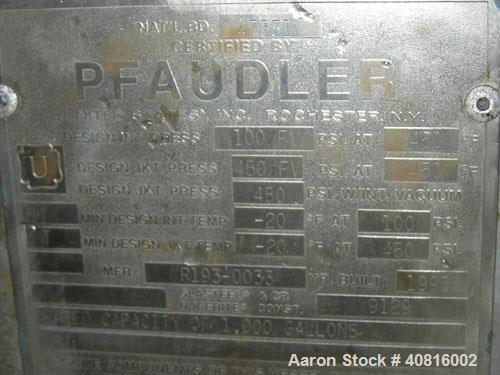 """Reglassed/Unused-  Pfaudler glass lined reactor, 1000 gallon, vertical.  Approximately 60"""" diameter x 78"""" straight side, dis..."""