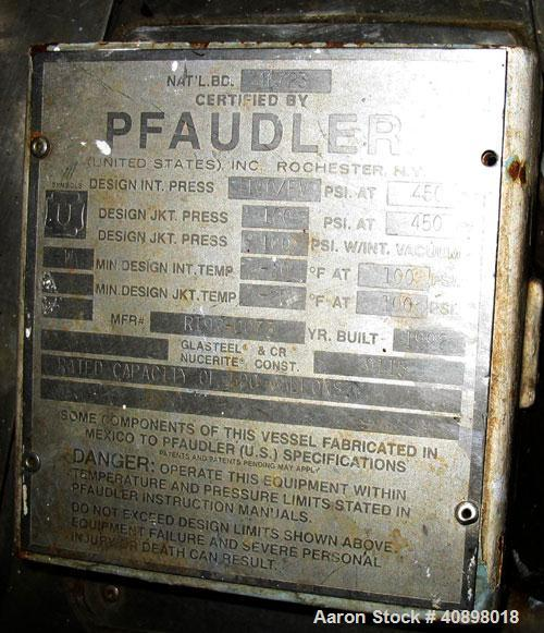 Used- Pfaudler Glass Lined Reactor, 500 gallon. 9115 glass. Internal rated 100 psi/fv at 450 deg.f., jacket rated 100 psi at...