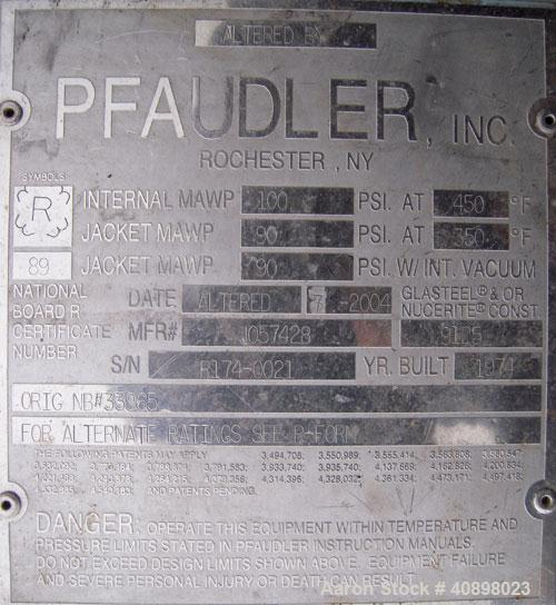 "Used- Pfaudler Glass Lined Reactor, Approximately 2000 Gallon. 9129 glass.  Approximately 76"" diameter x 84"" straight side. ..."