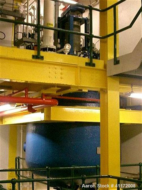 Used- Pfaudler Glass Lined Reactor, 2114 Gallon (8,000 liter), 9145 White Glass, Vertical. Welded dished top and bottom. Int...