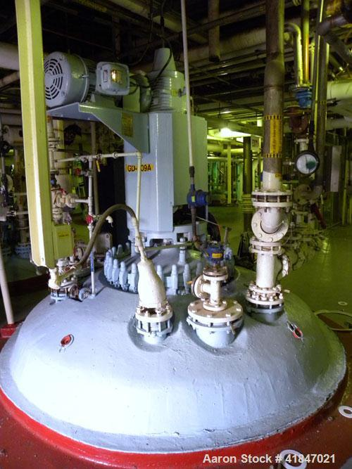 """Used- Pfaudler Glass Lined Reactor, 3000 gallon, 9129 white glass with calibration lines, vertical. Approximately 96"""" diamet..."""