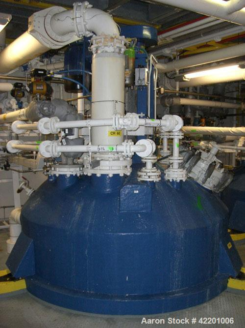 Used- Pfaudler Glass Lined Reactor, approximately 2114 gallon (8,000 liter working capacity), vertical. Welded dished top an...