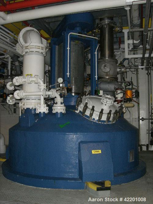 Used- Pfaudler Glass Lined Reactor, 9145 glass, vertical. Approximately 3303 gallon(12,500 liter) working capacity, 14,360 l...