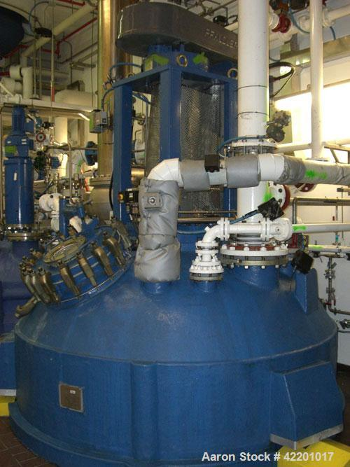 Used- Pfaudler Glass Lined Reactor, 9145 glass, vertical. Approximately 3303 gallon  (12,500 liter) working capacity. Dished...