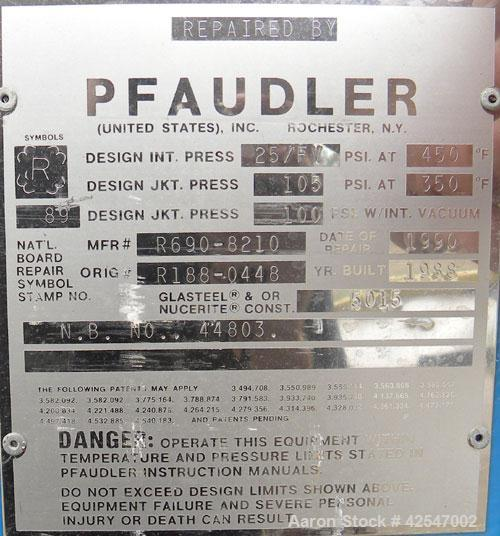"""Used- Pfaudler Glass Lined Reactor, 50 gallon, 5015 blue glass, vertical. Approximate 26"""" diameter x 18"""" straight side, Clam..."""