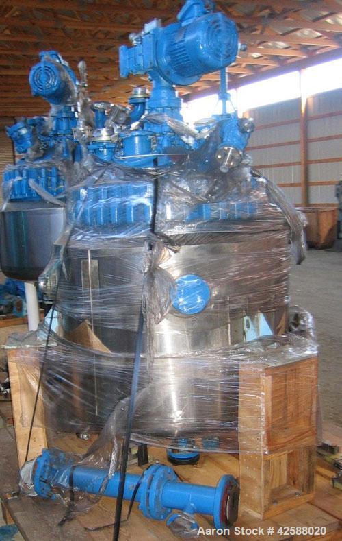 """Used- Pfaudler Glass Lined Reactor, 100 gallon, model E32-100-100-150. 32"""" Diameter x 24"""" straight side. 2:1 Elliptical bolt..."""