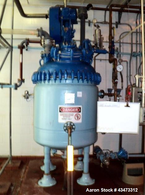 Used- Pfaudler Glass Lined Reactor, 200 Gallon. Internal rated 100 psi at 450 degrees F. Jacket rated for 90 psi at 500 degr...