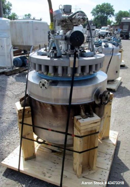 Used- Pfaudler Glass Lined Reactor, 50 Gallon. Removable flat top, cone bottom. Internal rated 150 psi & Full Vacuum at 450 ...