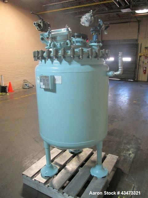 Used- Pfaudler Glass Lined Reactor, 100 Gallon, 3315 Glass. Removable dome top, dish bottom. Internal rated 25 psi & Full Va...