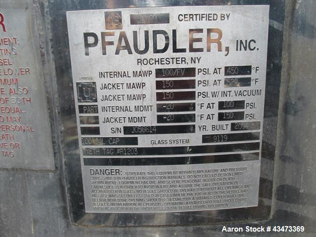 Used- Pfaudler Glass Lined Reactor, 100 Gallon. Internal rated 150 psi & Full Vacuum at 450 degrees F, vessel top rated 100 ...
