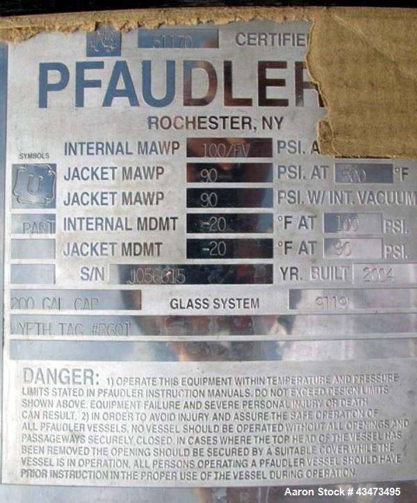Used- Pfaudler Glass Lined Reactor, 200 Gallon, 9119 Glass, Vertical. Internal rated 100 psi & Full Vacuum at 450 degrees F....