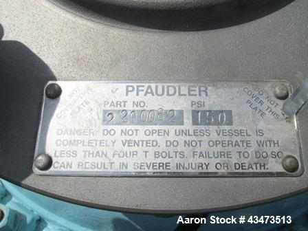 Used- Pfaudler Glass Lined Reactor, 100 Gallon, 9115 Glass. Internal rated 150 psi & Full Vacuum at 450 degrees F. Jacket ra...