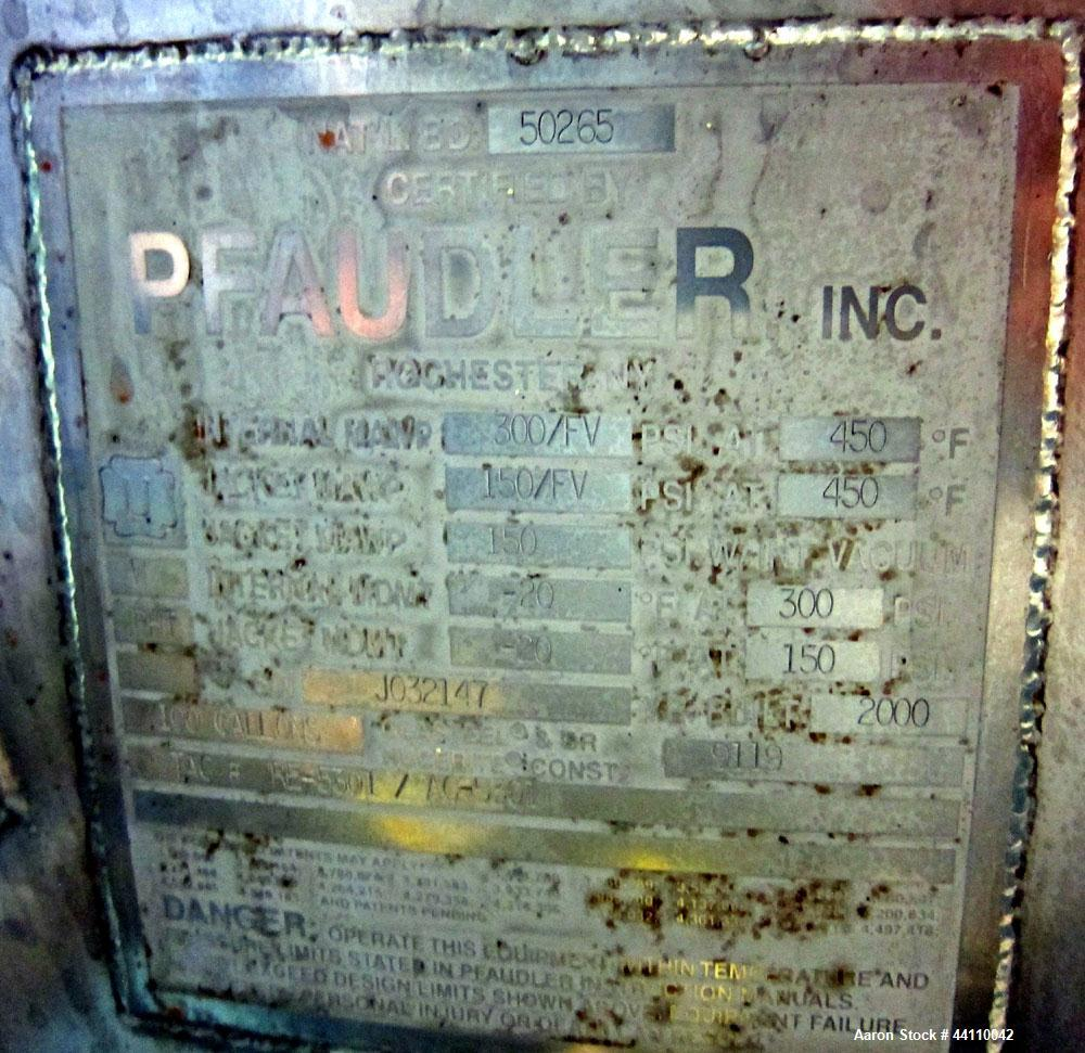 Used- Pfaudler Glass Lined Reactor, 100 Gallon. Internal rated 300 psi & Full Vacuum at 450 degrees F, jacket rated 150 psi ...