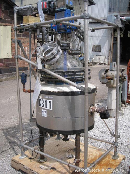 "Used- Pfaudler glass lined Kilo reactor, 20 gallon glass lined body approximately 18"" diameter x 16"" straight side, dish bot..."