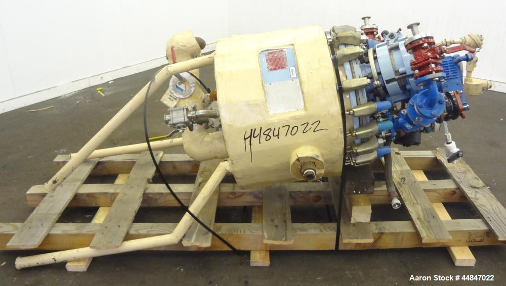 "Used- Pfaudler Clamp Top Glass Lined Reactor, 20 Gallon, 9115 Blue Glass, Vertical.  Approximately 20"" diameter x 14-1/2"" st..."