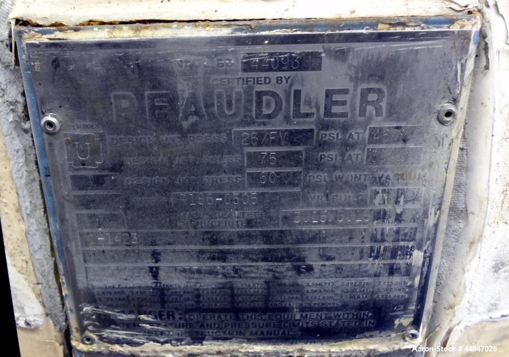 Used- 100 Gallon Pfaudler Clamp Top Glass Lined Reactor